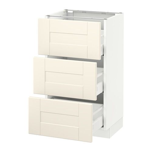 SEKTION Base cabinet with 3 drawers, white Maximera, Grimslöv off ...