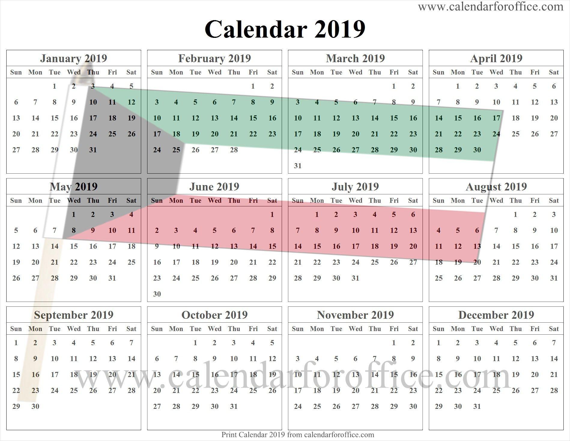 2019 Kuwait Calendar Template Calendar Template Calendar Free