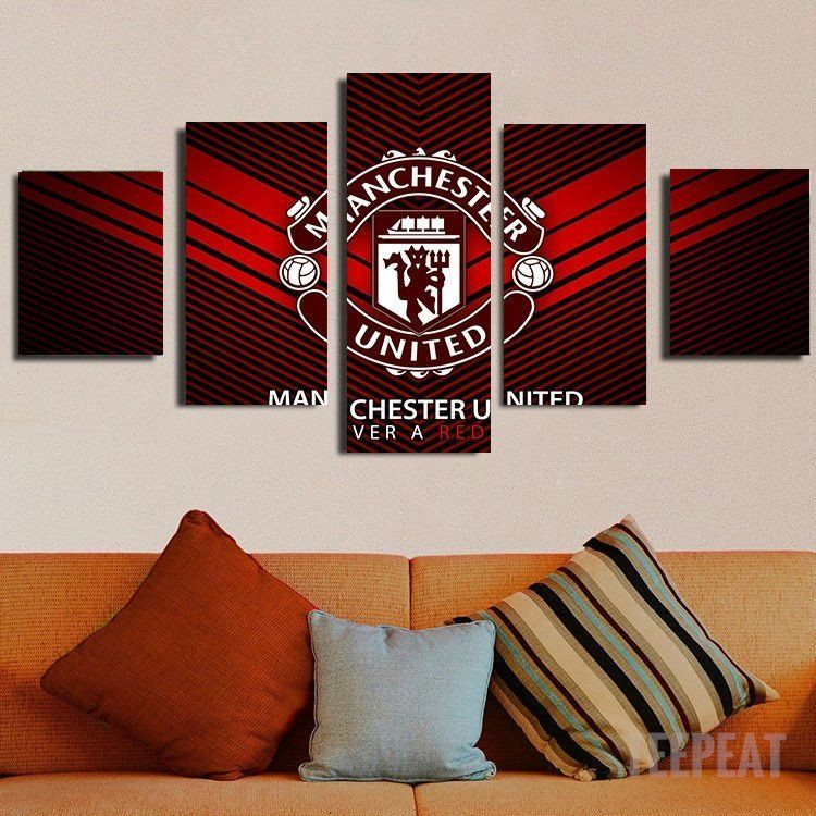 Manchester United Football Red Devil Logo Print On Framed Canvas Wall Art Decor