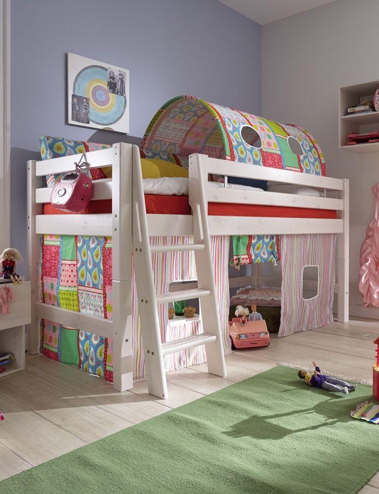 Kinderhochbett design  Tolles Kinderhochbett in massiv weiss. Für die schönsten ...