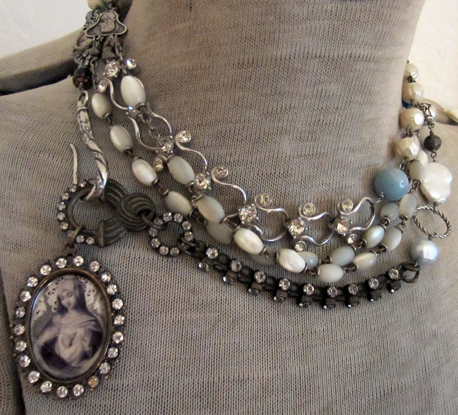 Reserved For Br  A Loving Heart  Vintage Assemblage Triple Wrap  Necklace With Mother Of Pearl Rosaries By The French Circus