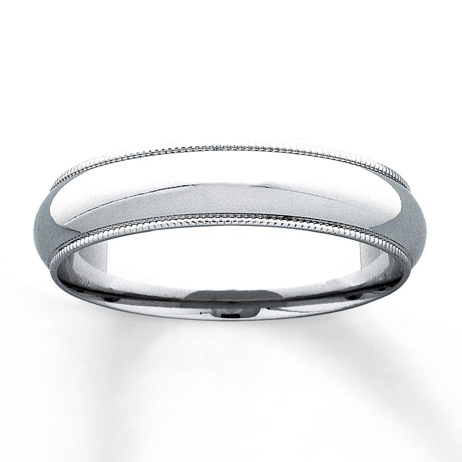 This 10K White Gold 5mm Wedding Band For Him Features Milgrain Edge Detailing The Ring