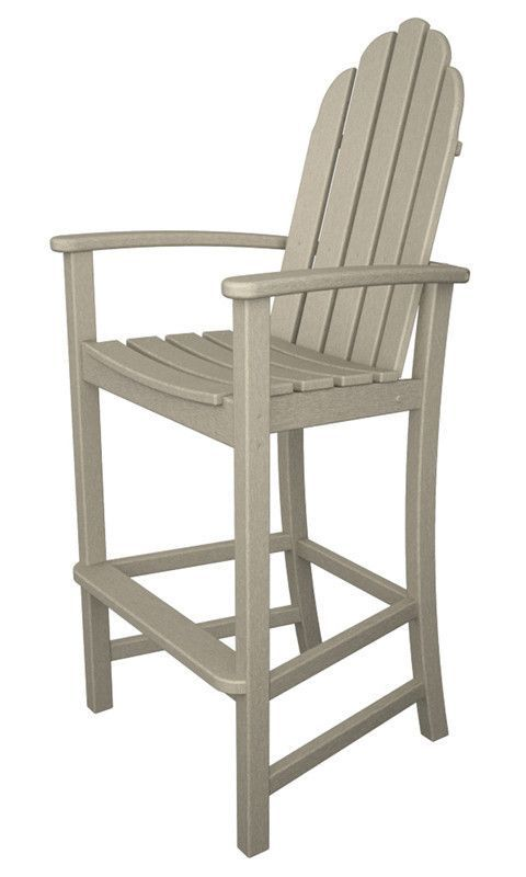 Polywood ADD202SA Classic Adirondack Bar Chair in Sand