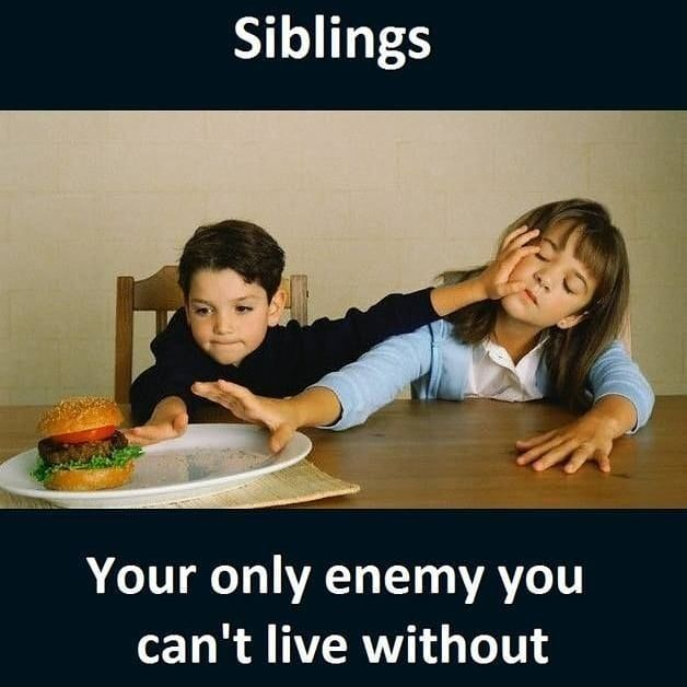 Image May Contain One Or More People And People Sitting Text That Says Siblings Your Only Ene Siblings Funny Quotes Sister Quotes Funny Brother Quotes Funny