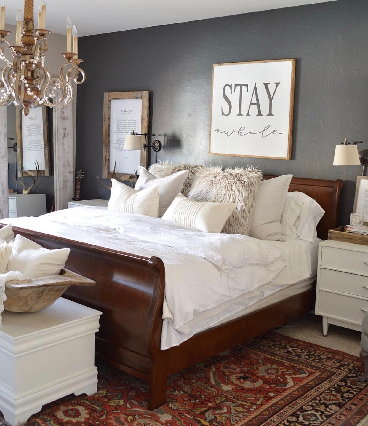 Bedroom Ideas Dark Furniture Brown Furniture Bedroom Sleigh Bed Master Bedroom Master Bedroom Furniture