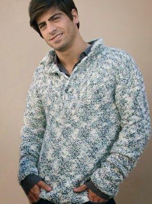 iKnitts: Patron para tejer Sweater de Hombre con cuello cho ...