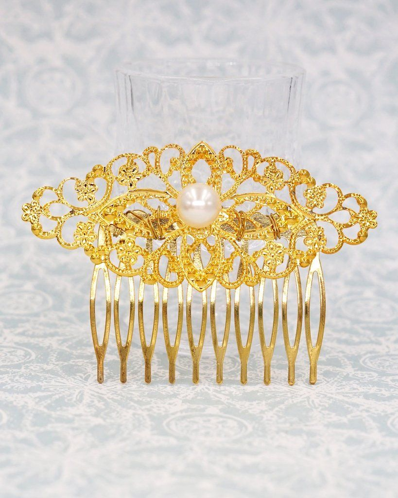 Simple filigree hair comb with pearl pearl hair comb gold