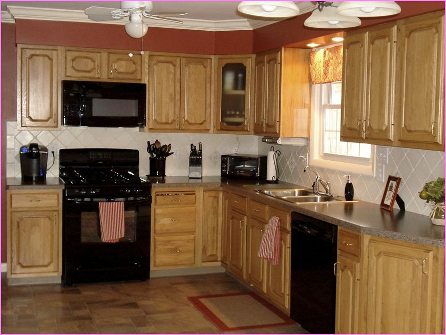 Kitchen color ideas with oak cabinets and black appliances for Kitchen cabinets with black appliances