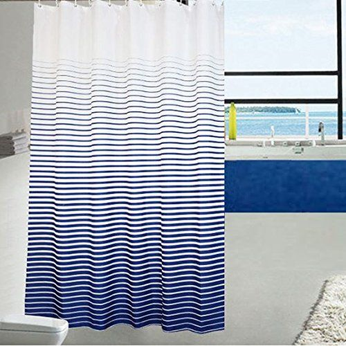 Ufaitheart Fashion Stripe Shower Curtain Extra Long Fabric 72 X 78 Inch Bathroom Curtains