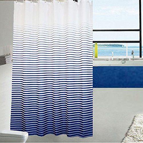 Ufaitheart Fashion Stripe Shower Curtain Extra Long Fabric 72 X 78 Inch Bathroom Curtains