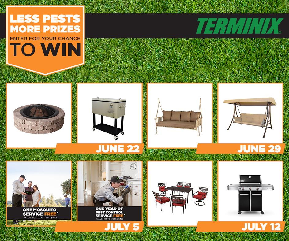 Enter The Terminix Less Pests More Prizes Sweepstakes Www Terminix Com Sweeps Free Sweepstakes Fun Activities