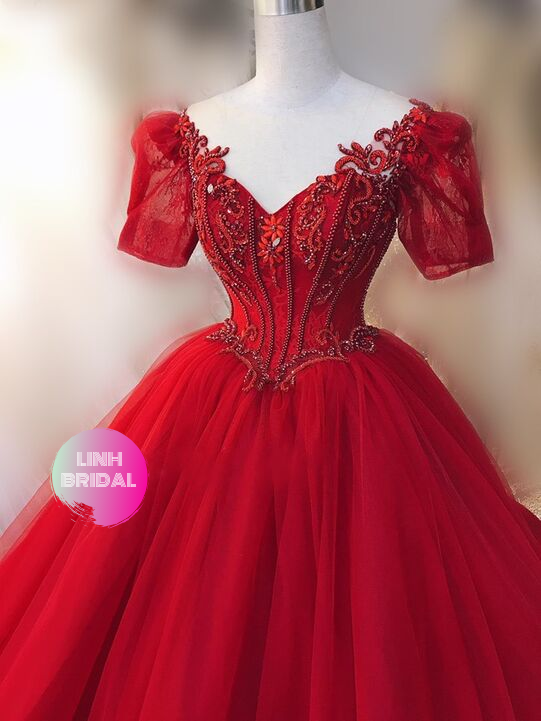Blooming red lace short sleeves bustier corset drop waist