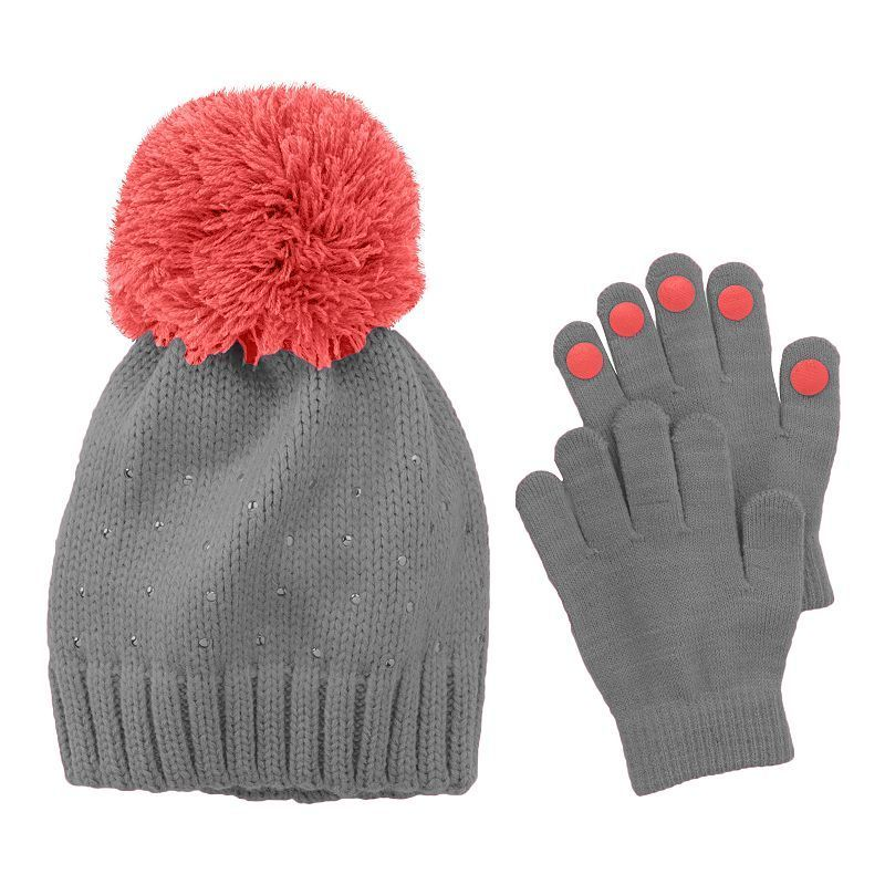 Canada Weather Gear Girls Big Sherpa Cuffed Beanie and Tech Touch Gloves