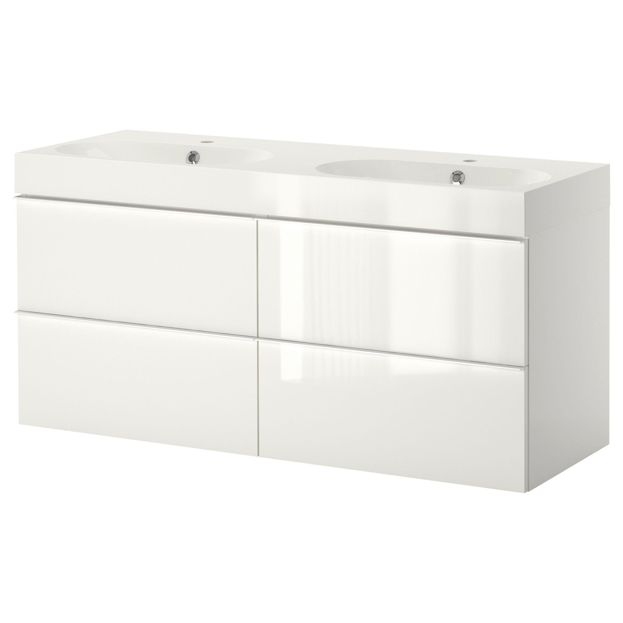 GODMORGONBRVIKEN Sink cabinet with 4 drawers high gloss white