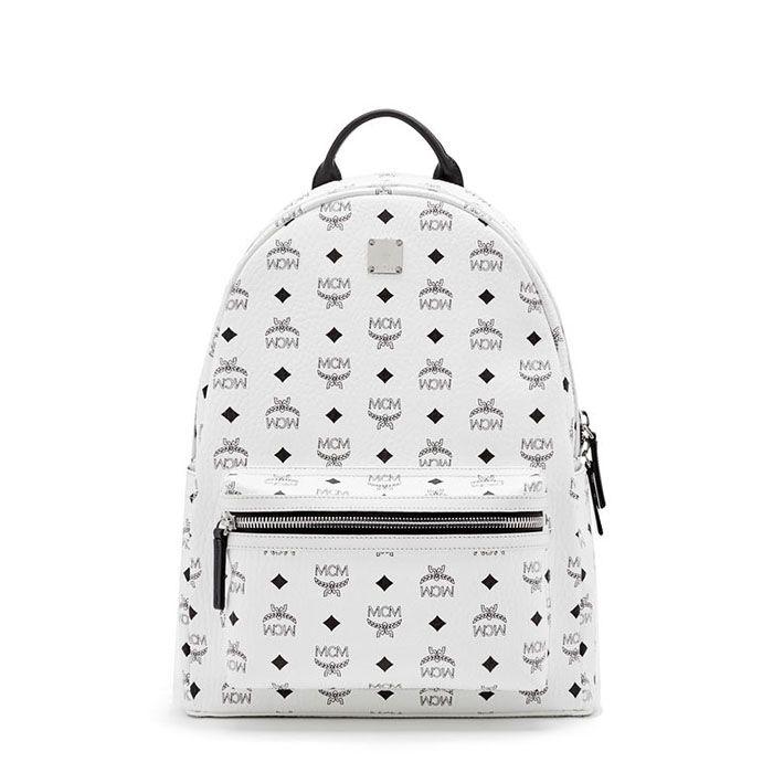 MCM Medium Stark Backpack In White Mcm ryggsekk, Studded  Mcm backpack, Studded