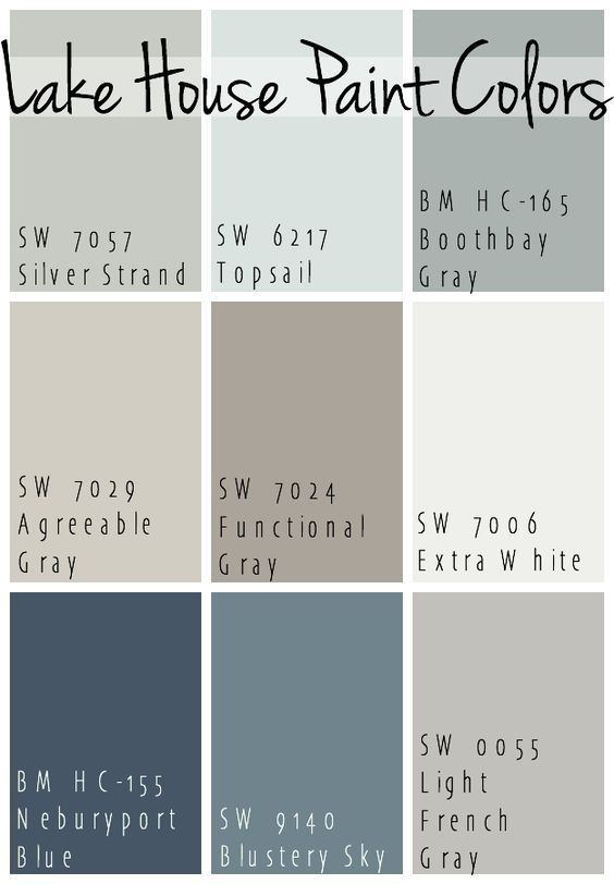 The Best Lake House Paint Colors Calming Blue And Gray Tones That All Coordinate For A Seamless Color Pallet Home
