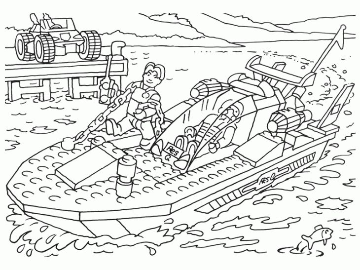 Lego Speed Boat Online Coloring Page Free To Print Letscolorit Com