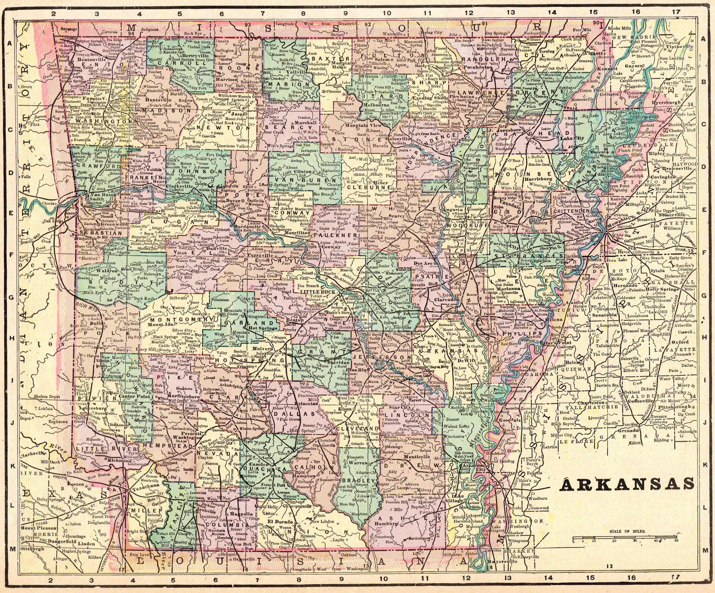 1888 Antique ARKANSAS State Map Vintage Map of Arkansas ...