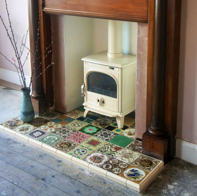 How To Turn Damp Hearth Into A Delectable Hearth Part 1 Stove Fireplace Tiles And Cast Iron