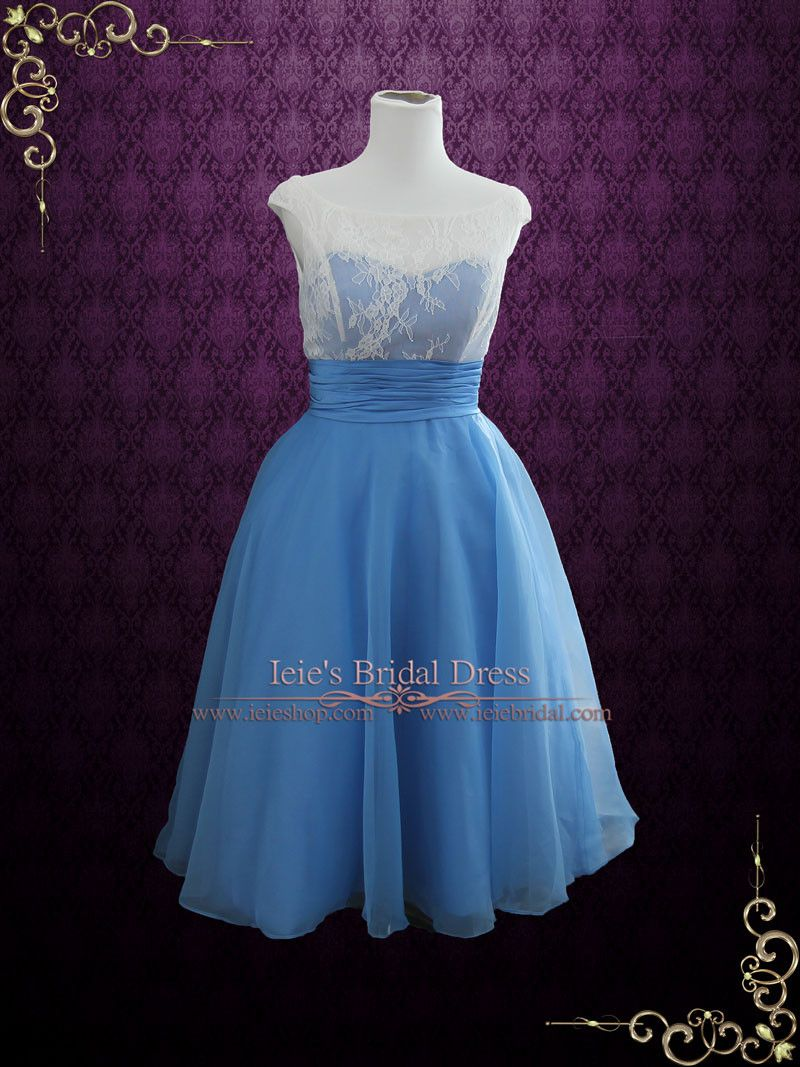 Blue Vintage Style Tea Length Formal Dress | Edena