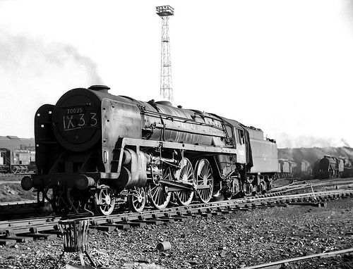 """70025 """"Western Star"""". BR Britannia 7P 4-6-2 at at Crewe South 21 March 1967. In less than 9 months, she would be scrapped after being in service just 15 years. Photo by John Turner."""