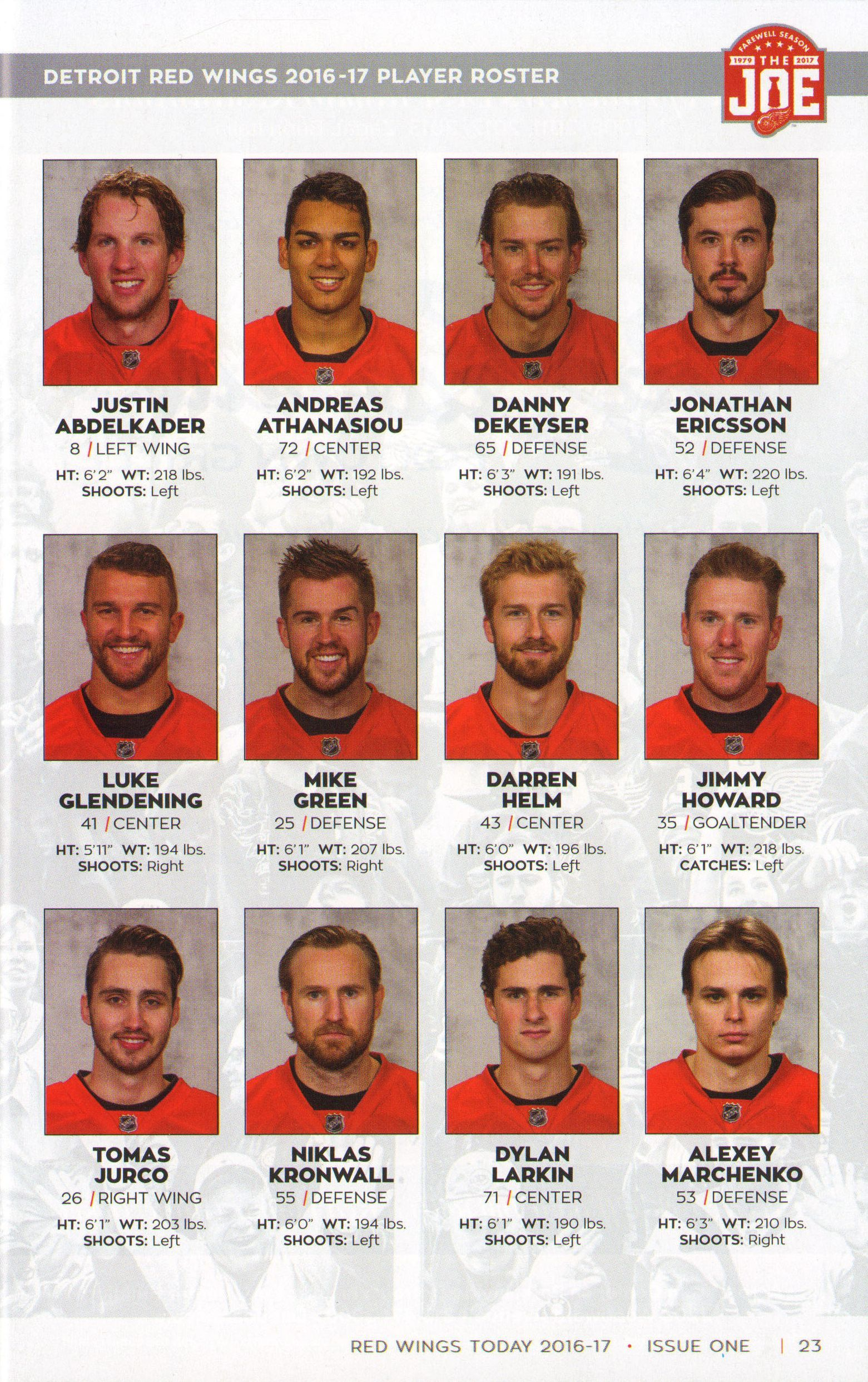 Detroit Red Wings 2016-2017 Player Roster   Hockey   Red