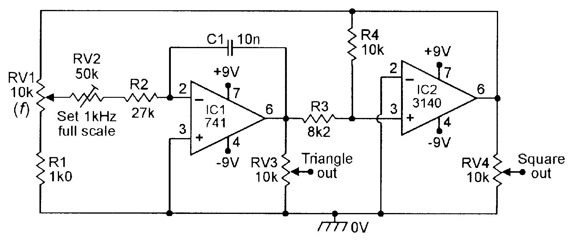 100Hz-1kHz triangle/square function generator.