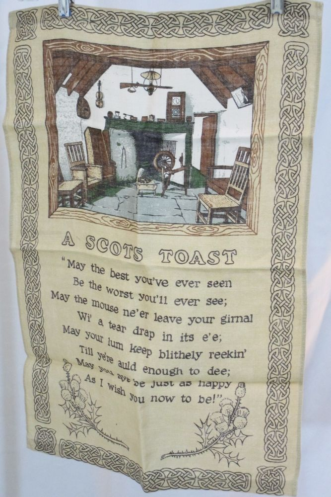 By Linanne Scottish Linen Tea Towel Wall Hanging Beige A Scots Toast Linen Tea Towel Vintage Collection Collectibles
