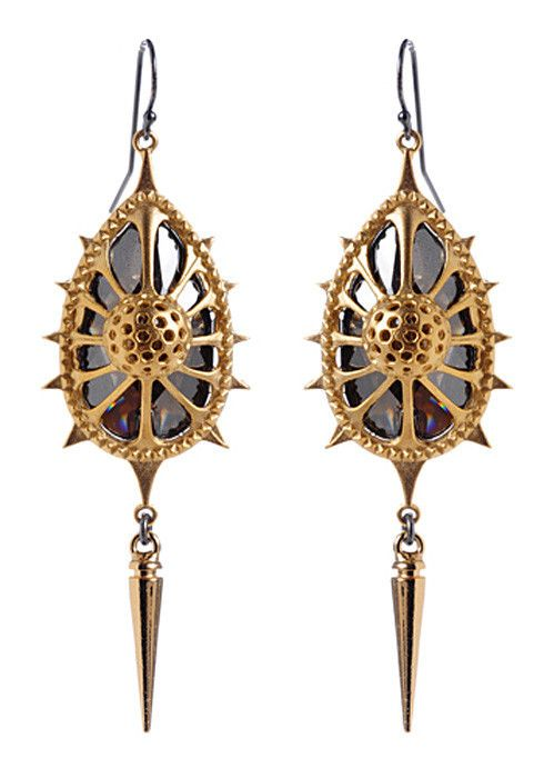 Michael Spirito | 'Sea Sphere' Earrings Gold plate with hematite Swarovski crystals on Vermeil ear wires.  $240.00 USD