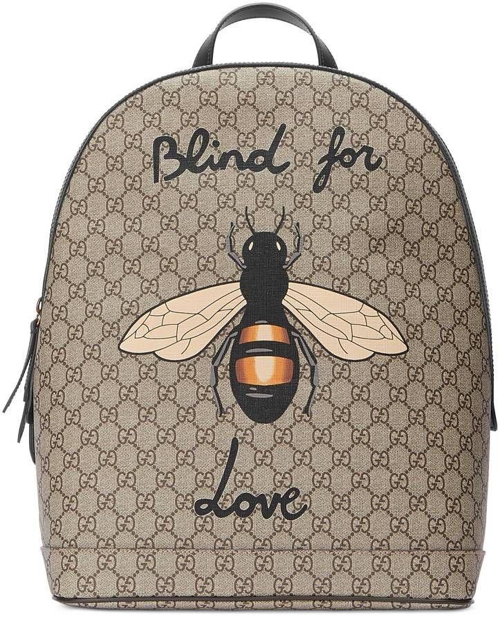 a7e3527cc6aa3 Gucci Bee print GG Supreme backpack