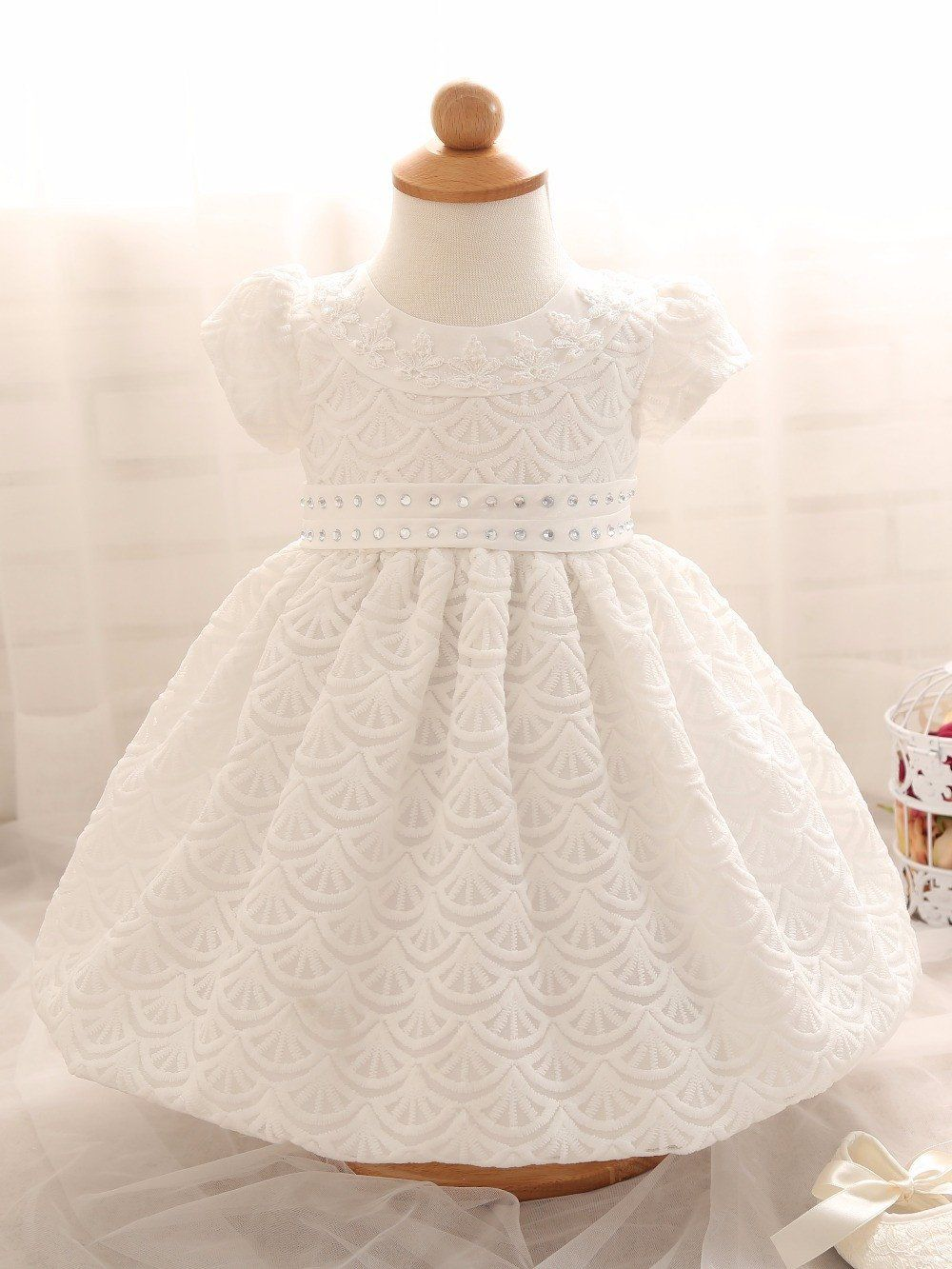 f9fa890983ae 3-24 Month Baby Girls Elegant Communion Dresses White Kids Princess ...