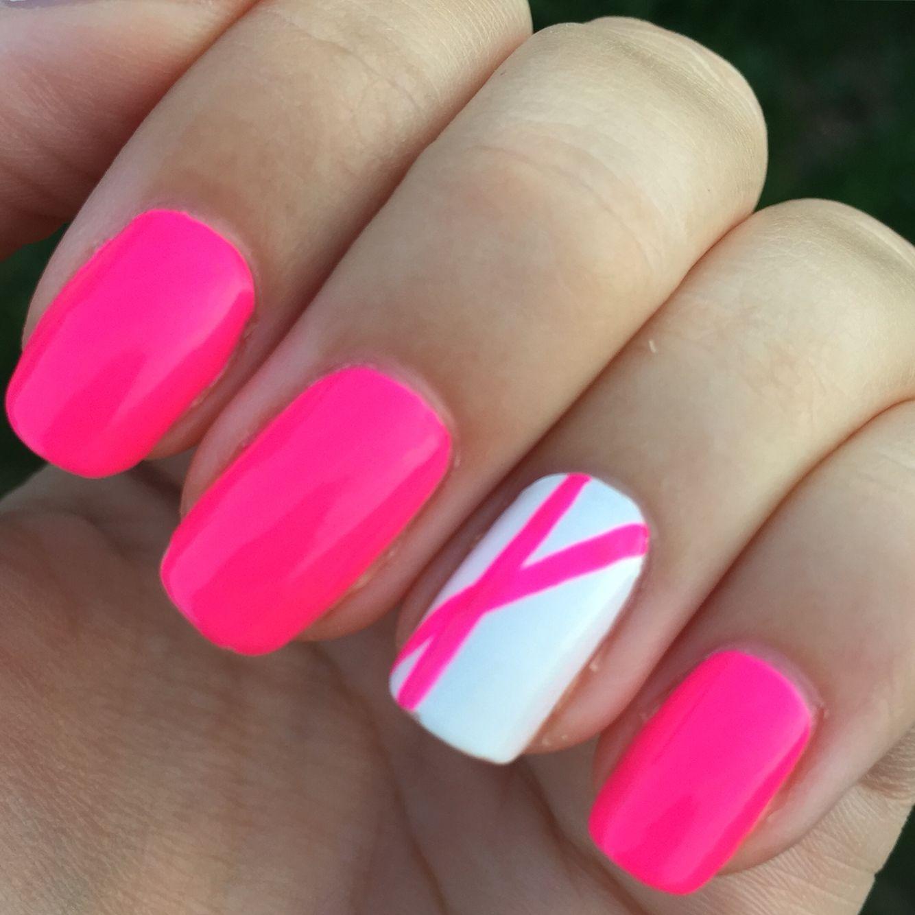 nail art rose fluo nails