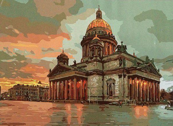 Величественный Исаакиевский собор. Размер картины 40х50см ...