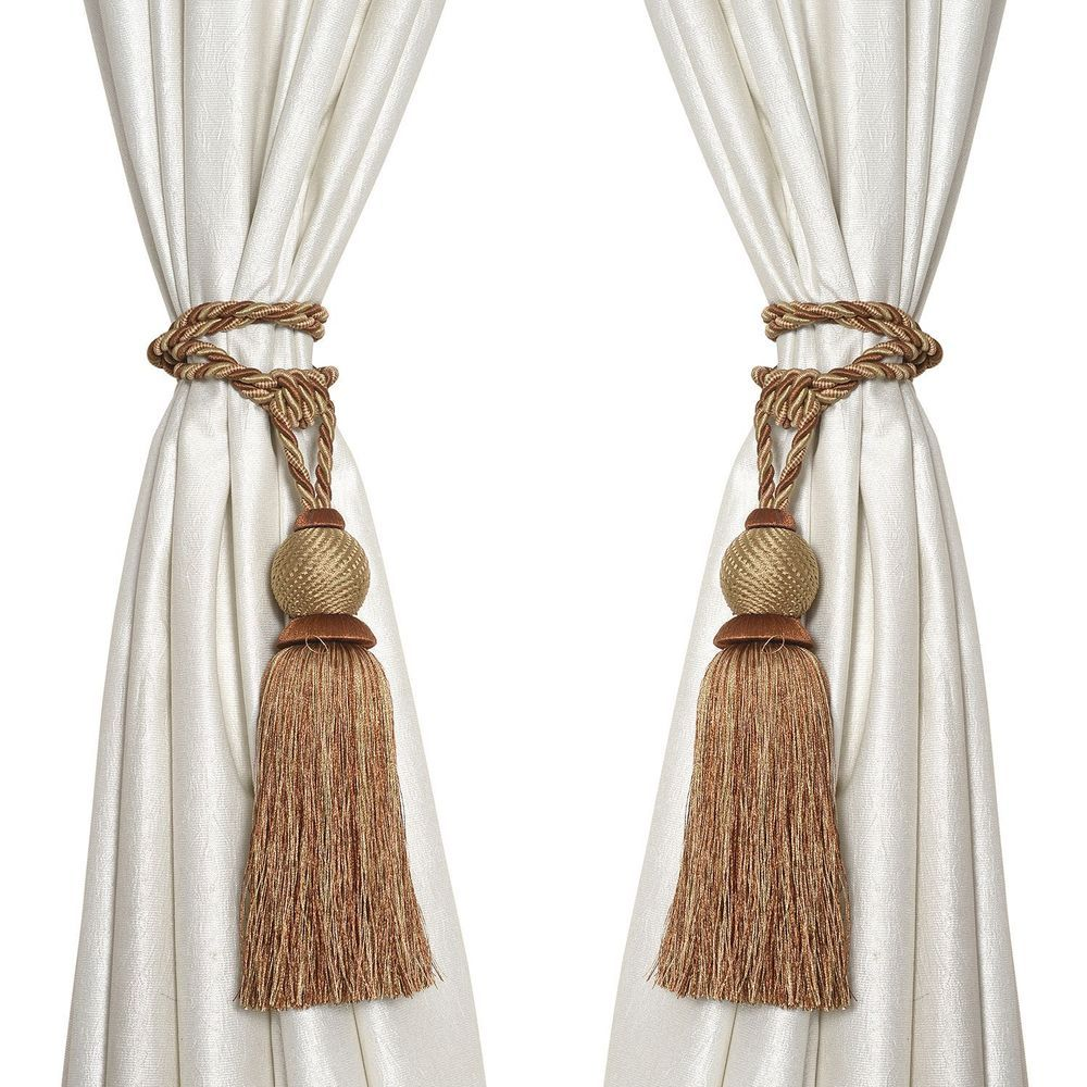 Details About ELITE CURTAIN TIE BACKS BRAIDED ROPE BROWN