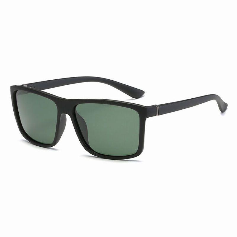 54eb29b507 Classic Square-Frame Polarized Fishing Sunglasses Black Green   FishingSunglasses