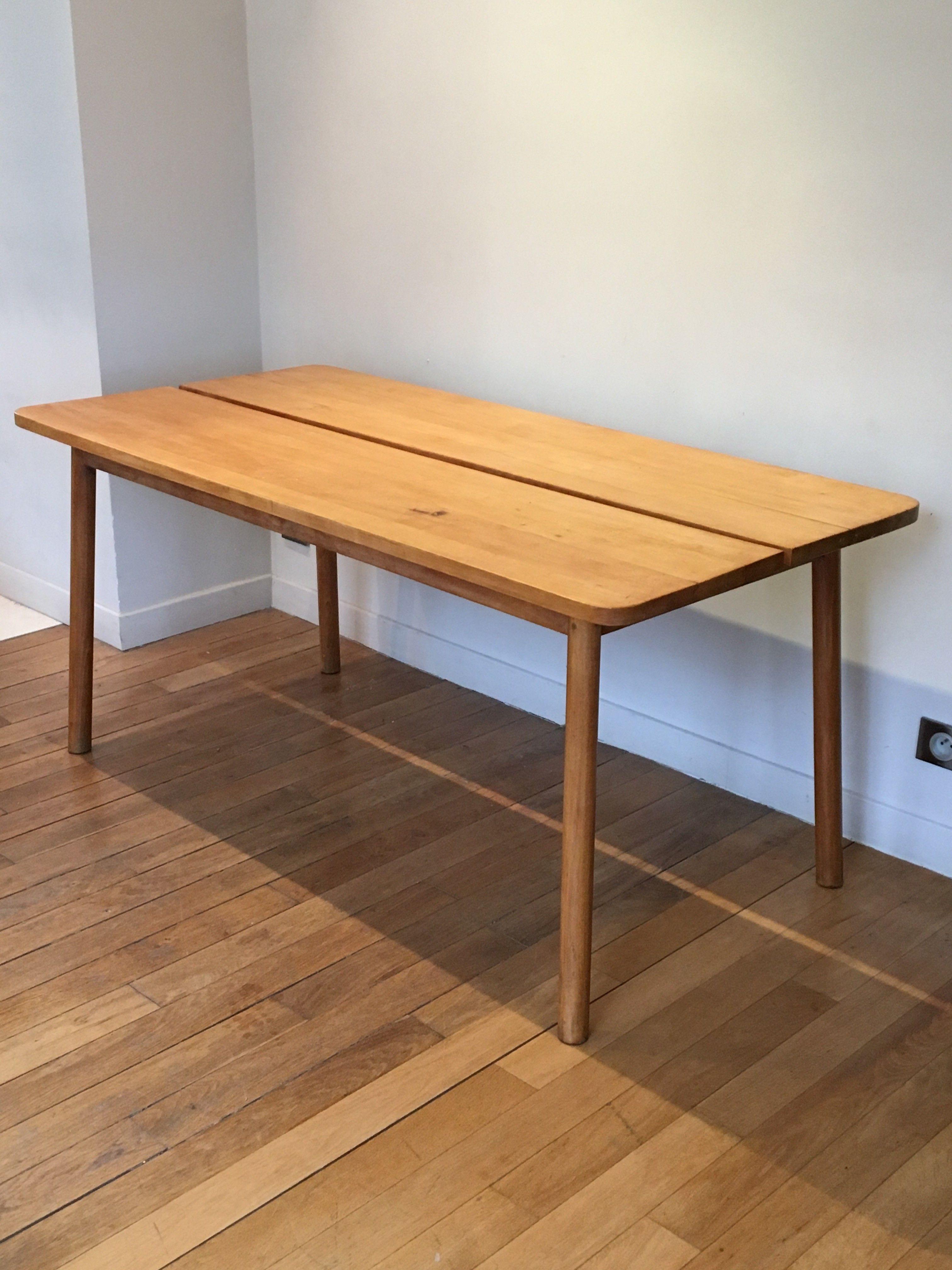 Table Vintage En Hetre Massif Par Pierre Gautier Delhaye 1950 Avec Images Table Vintage Mobilier De Salon Table