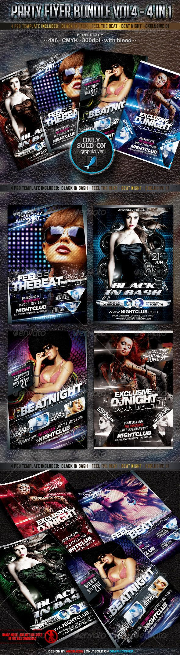 Party Flyer Bundle Vol4  4 in 1 — Photoshop PSD #night #passion • Available here → https://graphicriver.net/item/party-flyer-bundle-vol4-4-in-1/2880275?ref=pxcr