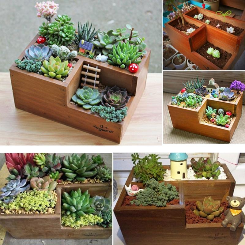 1X Wooden Flower Pot Shelf Garden Herb Planter Box Succulent Flower Plant Decor
