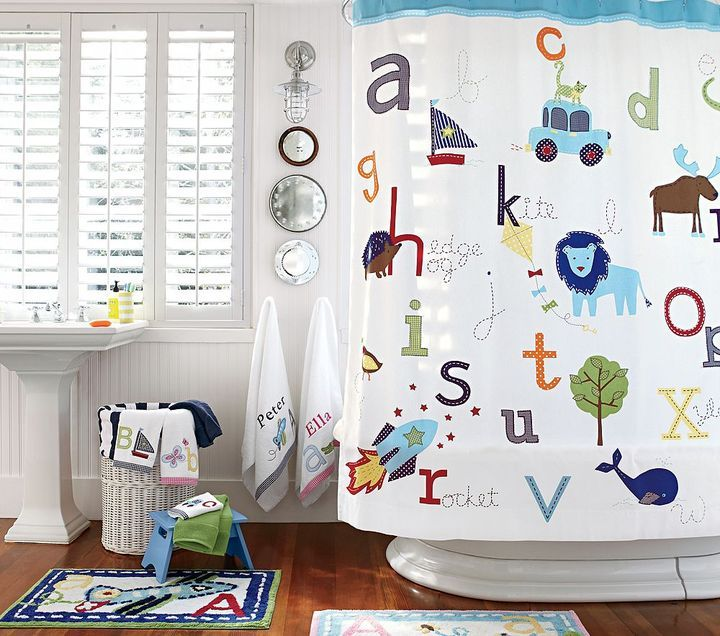 Incroyable ABC Shower Curtain From Potterybarn Kids.