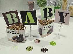 Military Camo Baby Shower Table Decorations Theme Set