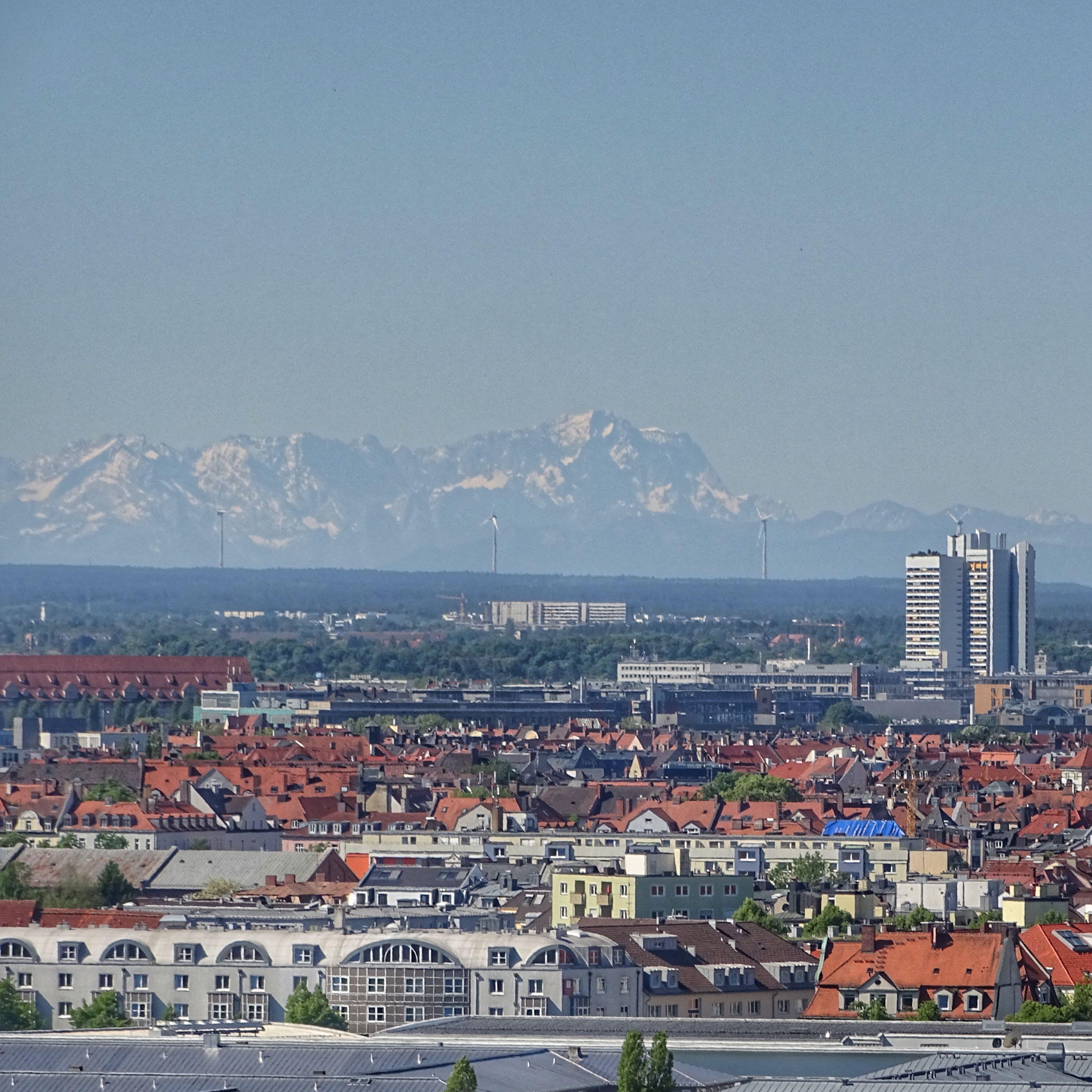 Munich Germany Munchen Deutschland Olympiapark Blick Vom Olympiaberg Auf Die Alpen Munchen Deutschland Munchen Alpen