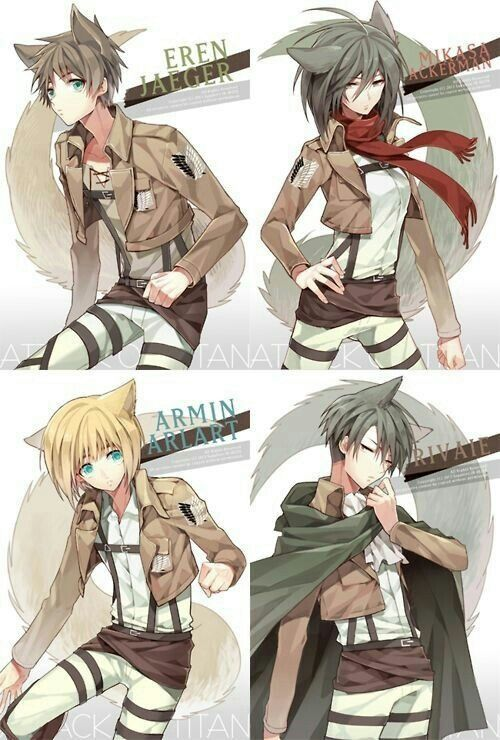 Eren, Mikasa, Armin, Levi, cute, cat, text; Attack on Titan
