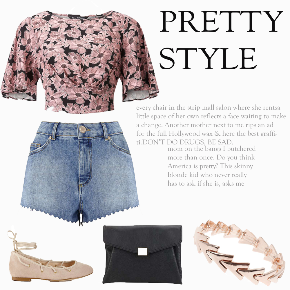 Shop The Look   1. Pink Floral Tie Angel     2. Crochet Hem Denim Short     3. ESSIE Ballet Tie Flat     4. Arrow Stretch Bracel...