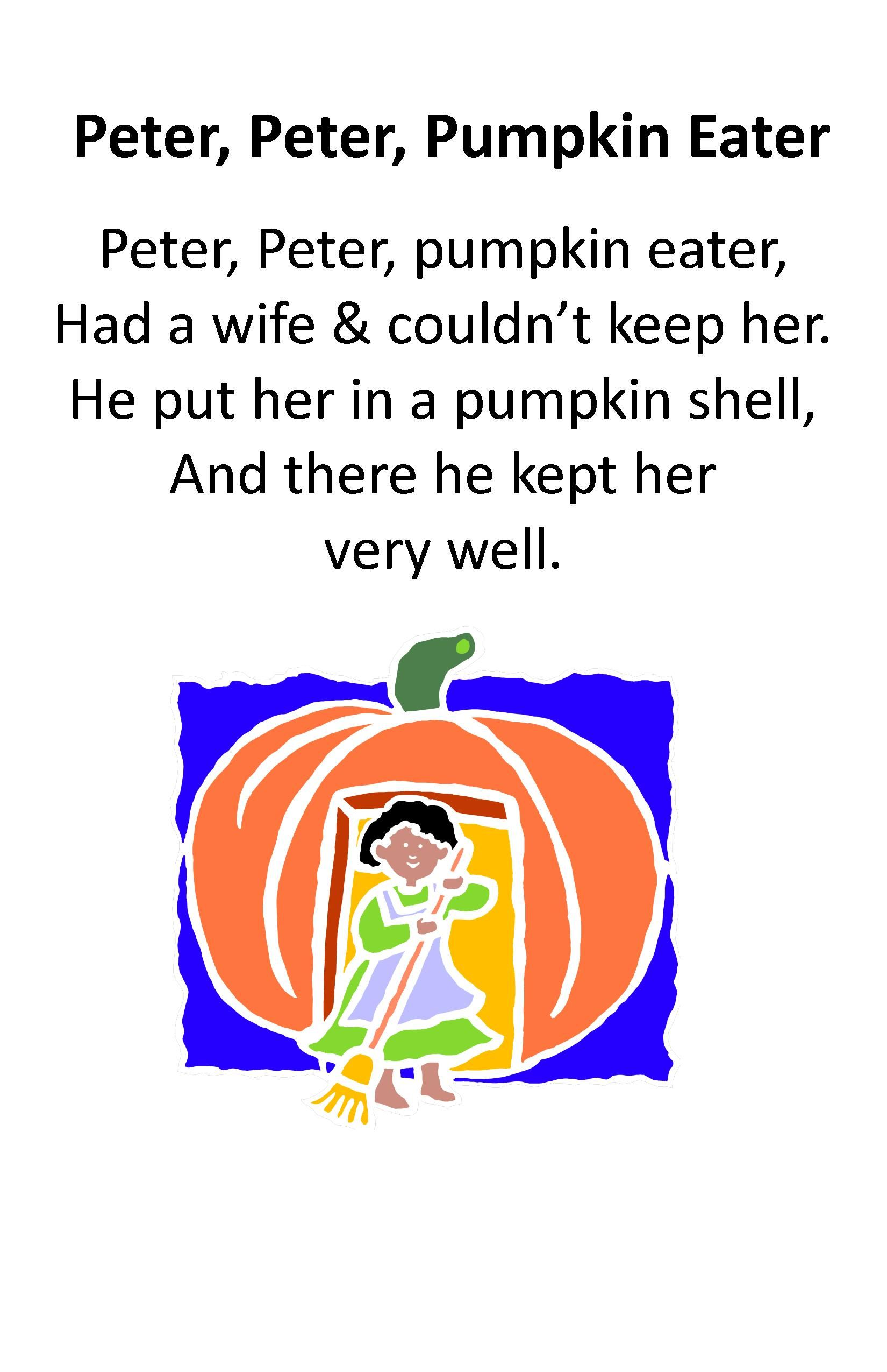 Itty Bitty Rhyme Peter Peter Pumpkin Eater
