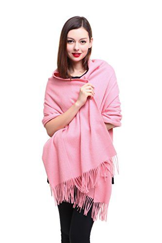 "SUNIN Extra Large 79""x28"" Women Soft Cashmere Lambswool Luxurious Solid Pashmina Wrap Shawl Stole Scarf (Pink) -- For more information, visit image link."