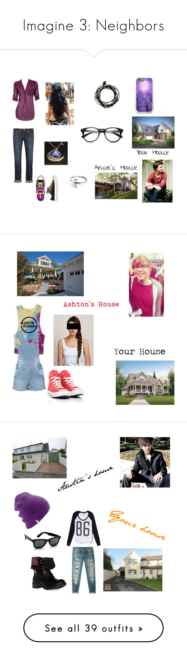 """Imagine 3: Neighbors"" by smmashley ❤ liked on Polyvore featuring AG Adriano Goldschmied, Converse, Holly Ryan, Bee Charming, Home Source International, Hershesons, Victoria's Secret, R13, DailyLook and Ray-Ban"