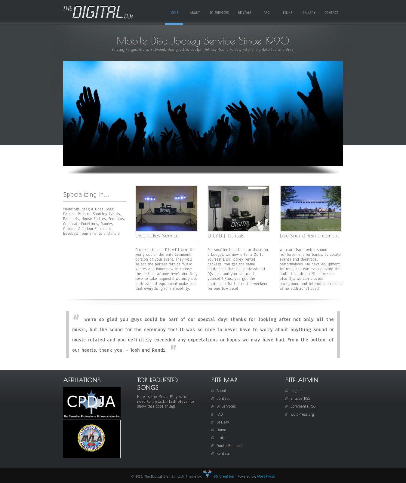 WordPress site digitaldjs.ca uses the Simplify best wordpress theme ...