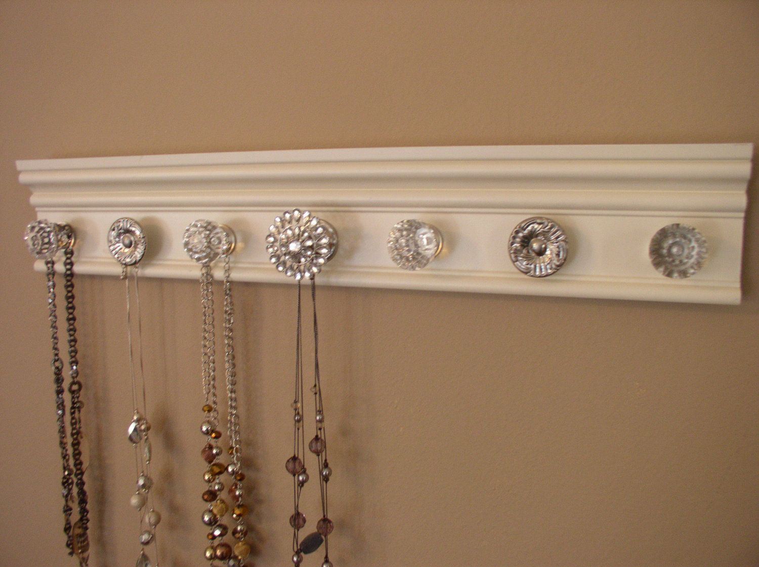 You CHOOSE 5 7 or 9 KNOBS on this Stunning jewelry holder This wall