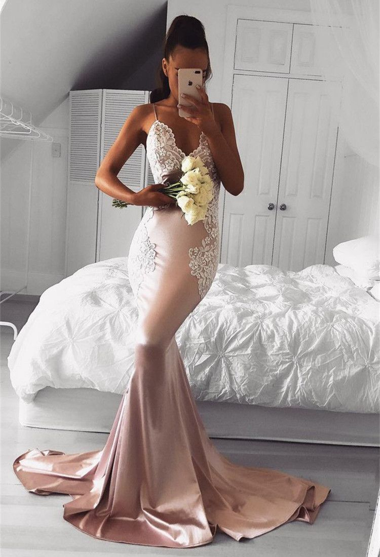 Cute Pink Mermaid Prom Dresses | Spaghettis Straps Evening Gowns with Lace Appliques #lacebridesmaids