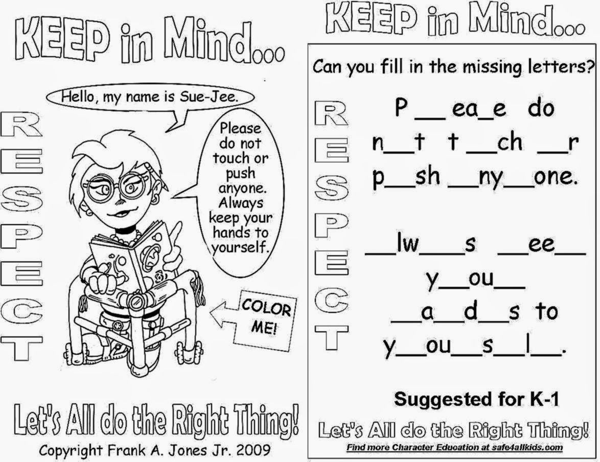 respect coloring pages coloringpages funkidts school ideas